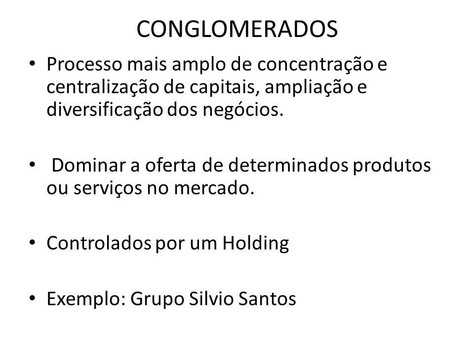 CONGLOMERADOS Processo mais amplo de concentração e centralização de capitais, ampliação e diversificação dos negócios.