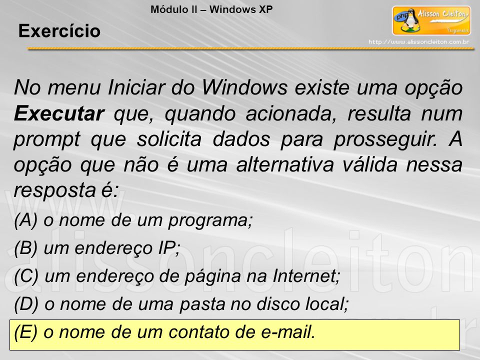 Módulo II – Windows XP Exercício.