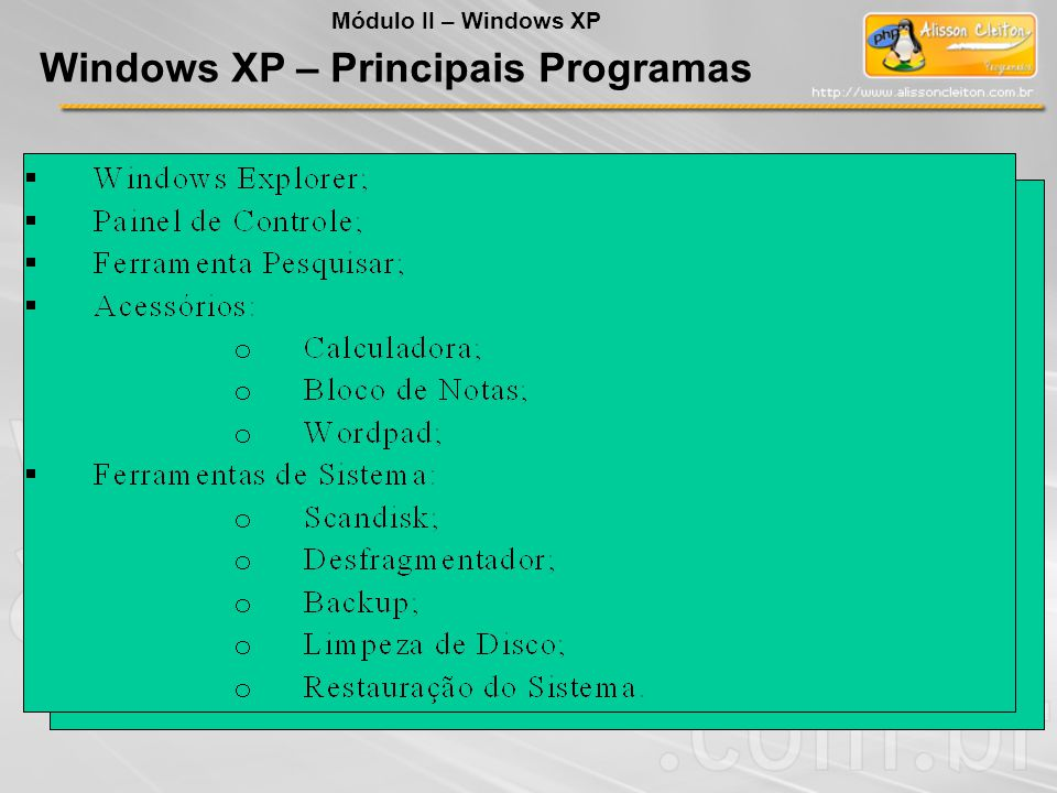 Windows XP – Principais Programas