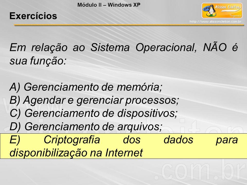 Em relação ao Sistema Operacional, NÃO é sua função: