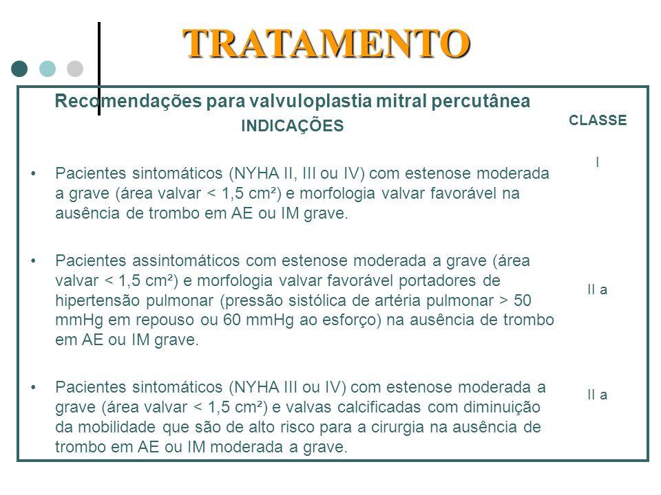 Recomendações para valvuloplastia mitral percutânea