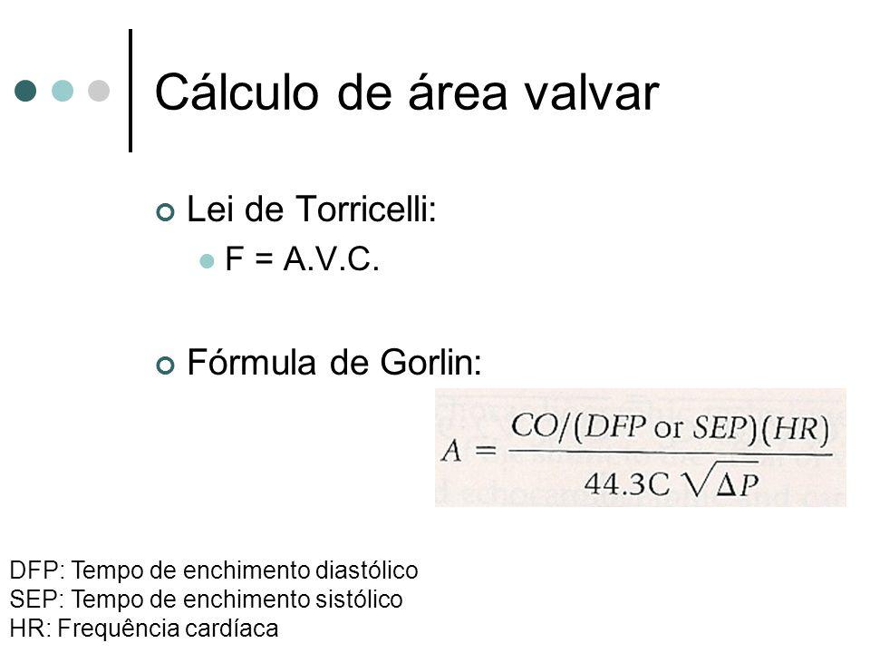Cálculo de área valvar Lei de Torricelli: Fórmula de Gorlin: