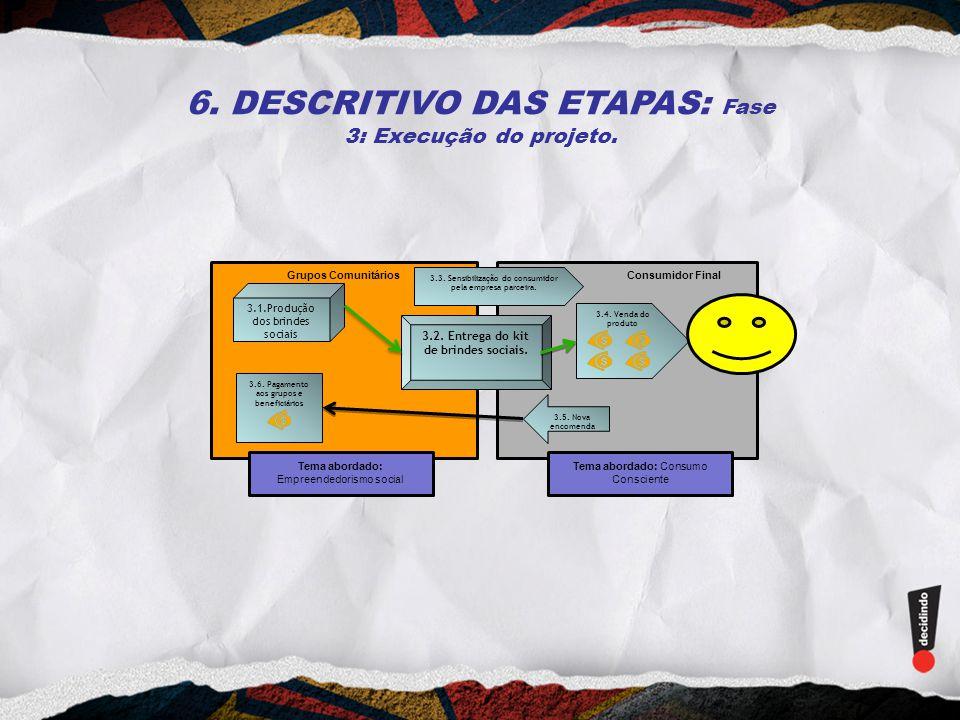 6. DESCRITIVO DAS ETAPAS: Fase 3: Execução do projeto.