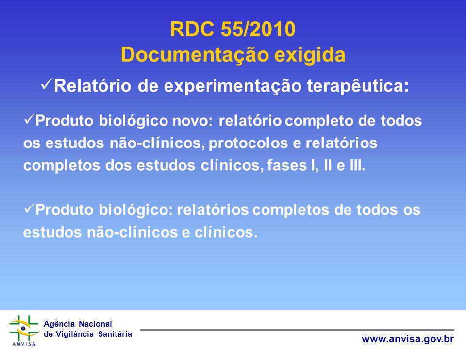 RDC 55/2010 Documentação exigida