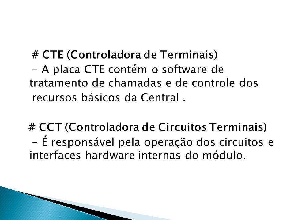# CTE (Controladora de Terminais) - A placa CTE contém o software de tratamento de chamadas e de controle dos recursos básicos da Central .