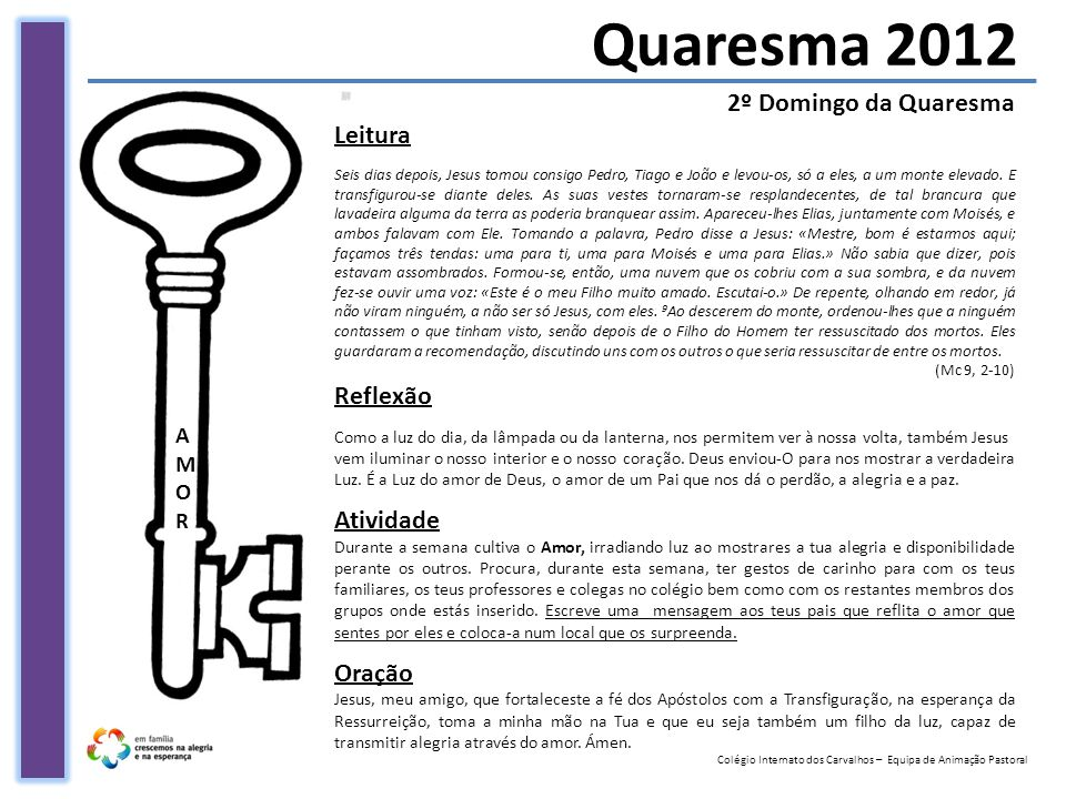 Quaresma 2012 2º Domingo da Quaresma Leitura Reflexão Atividade Oração