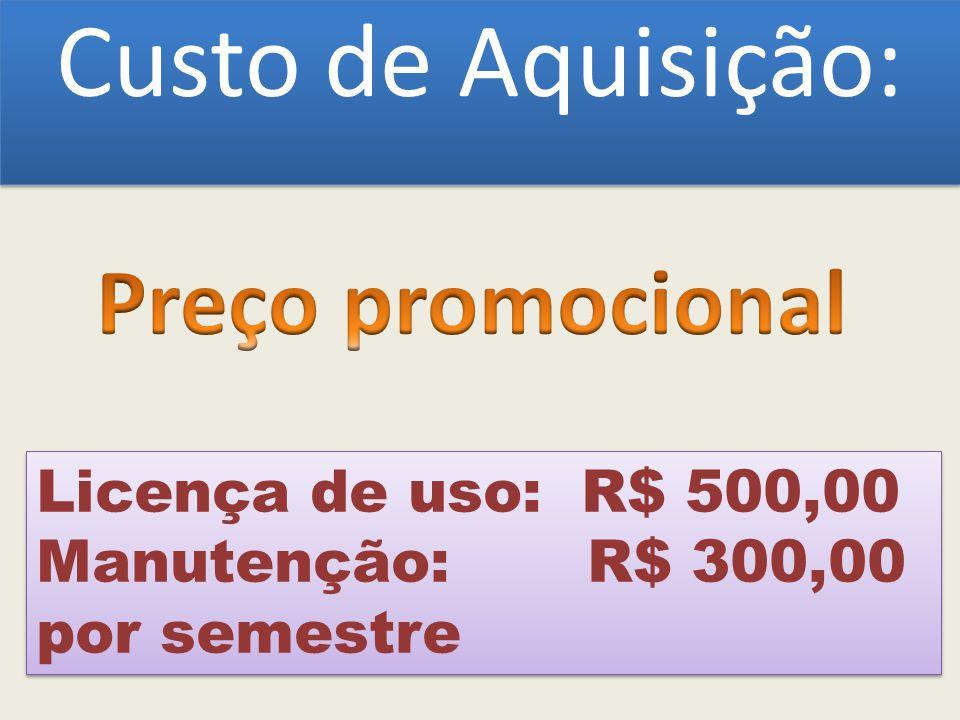 Custo de Aquisição: Preço promocional Licença de uso: R$ 500,00