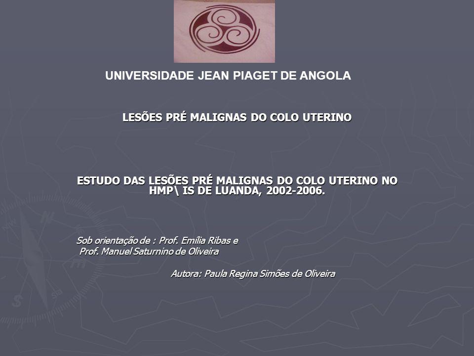 UNIVERSIDADE JEAN PIAGET DE ANGOLA LESÕES PRÉ MALIGNAS DO COLO UTERINO