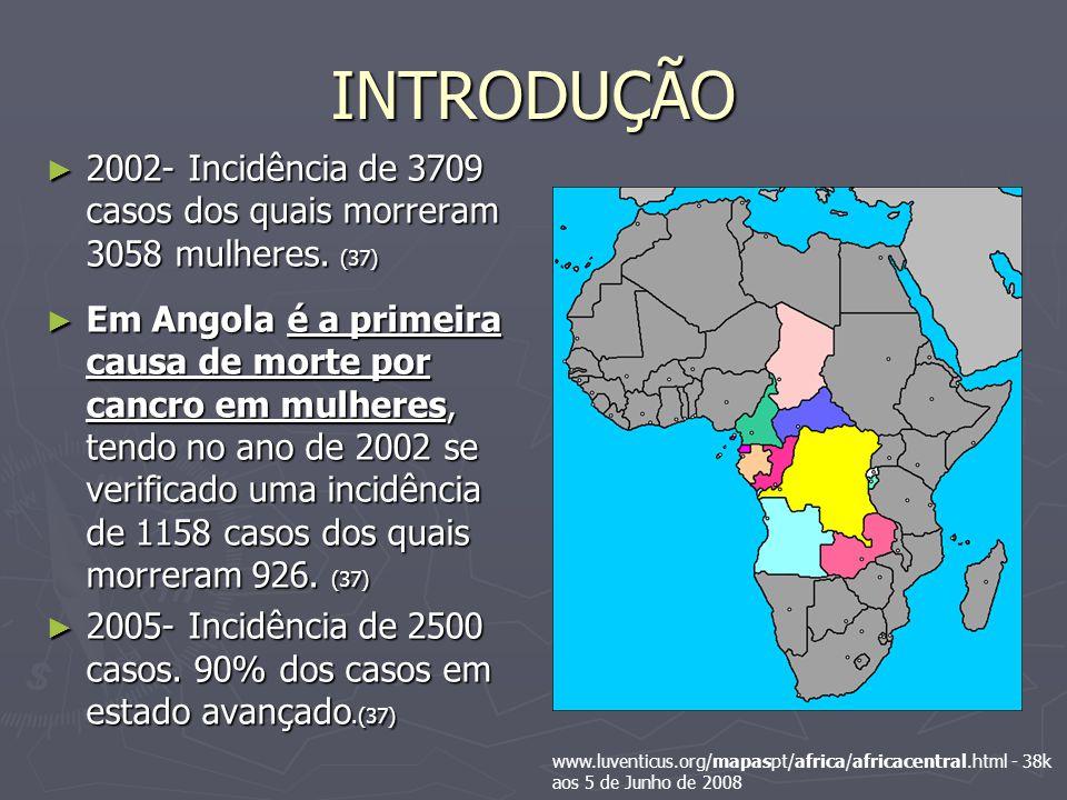INTRODUÇÃO 2002- Incidência de 3709 casos dos quais morreram 3058 mulheres. (37)