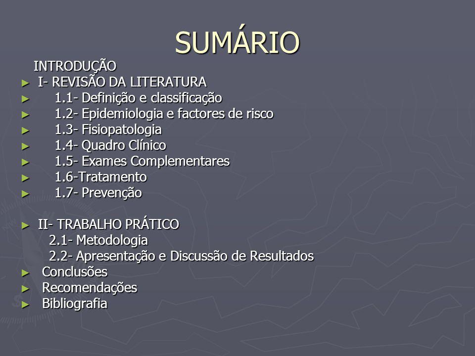SUMÁRIO I- REVISÃO DA LITERATURA 1.1- Definição e classificação