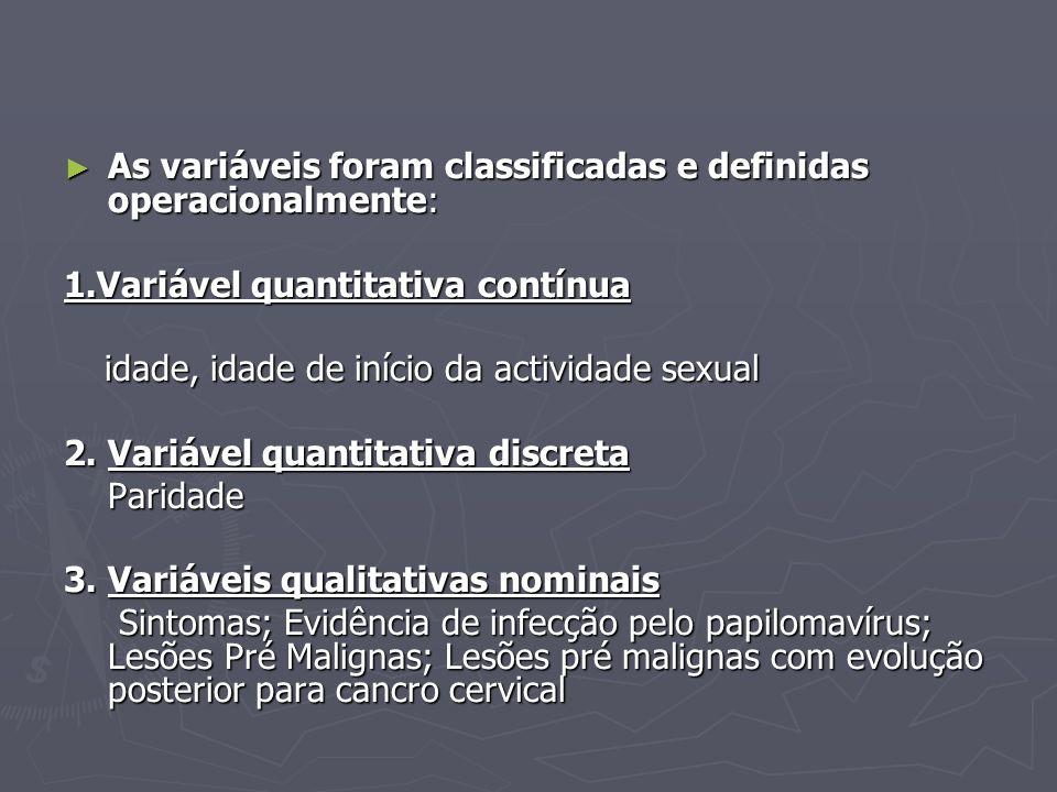 As variáveis foram classificadas e definidas operacionalmente: