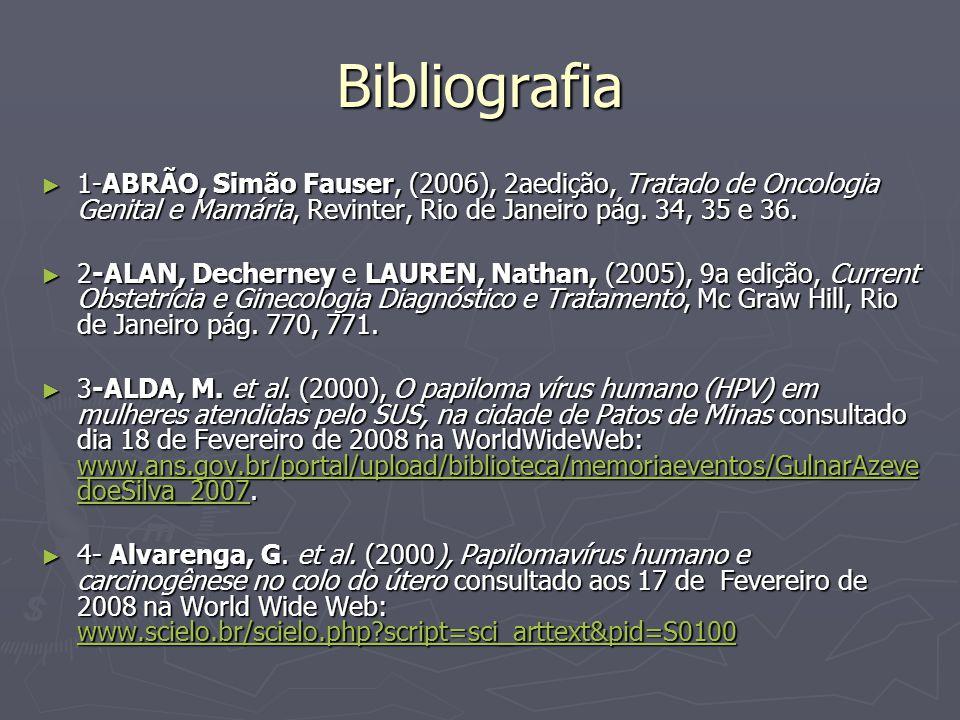 Bibliografia 1-ABRÃO, Simão Fauser, (2006), 2aedição, Tratado de Oncologia Genital e Mamária, Revinter, Rio de Janeiro pág. 34, 35 e 36.