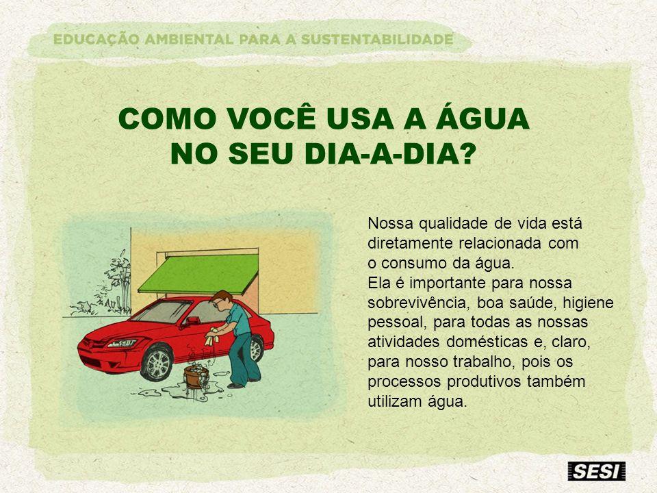 COMO VOCÊ USA A ÁGUA NO SEU DIA-A-DIA Nossa qualidade de vida está
