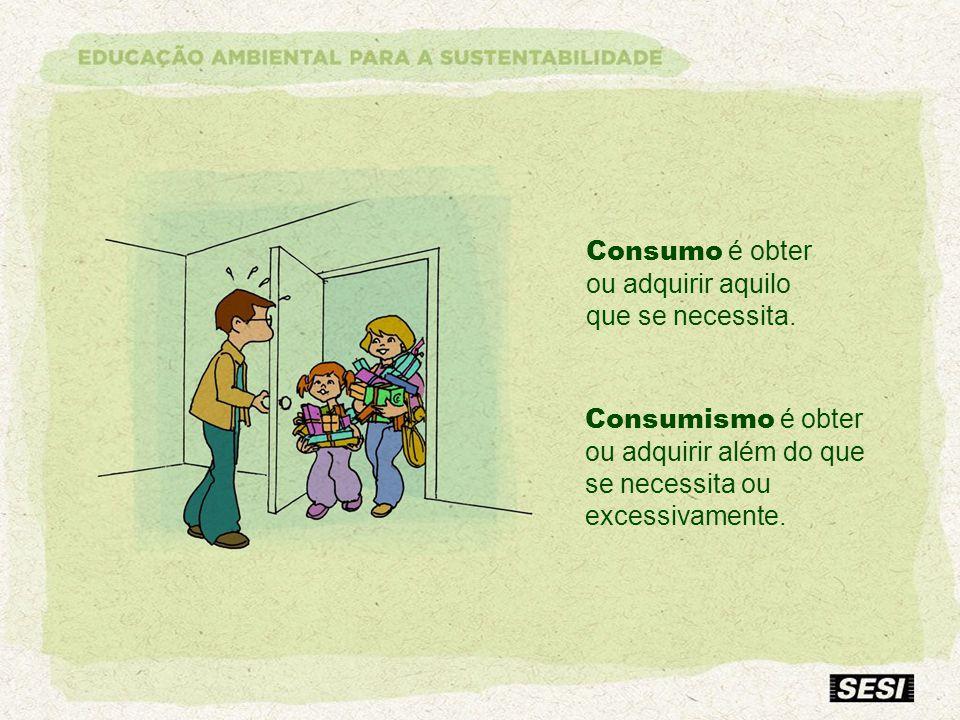 Consumo é obter ou adquirir aquilo que se necessita.