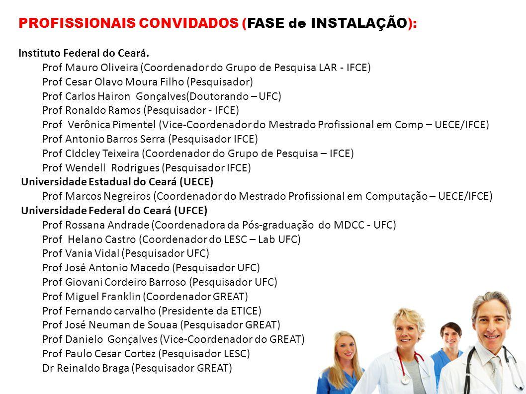 PROFISSIONAIS CONVIDADOS (FASE de INSTALAÇÃO):