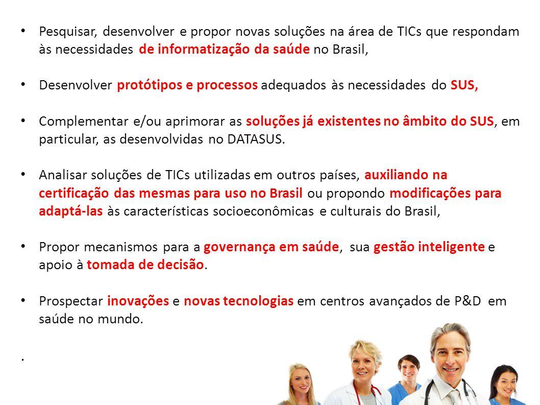 Pesquisar, desenvolver e propor novas soluções na área de TICs que respondam às necessidades de informatização da saúde no Brasil,