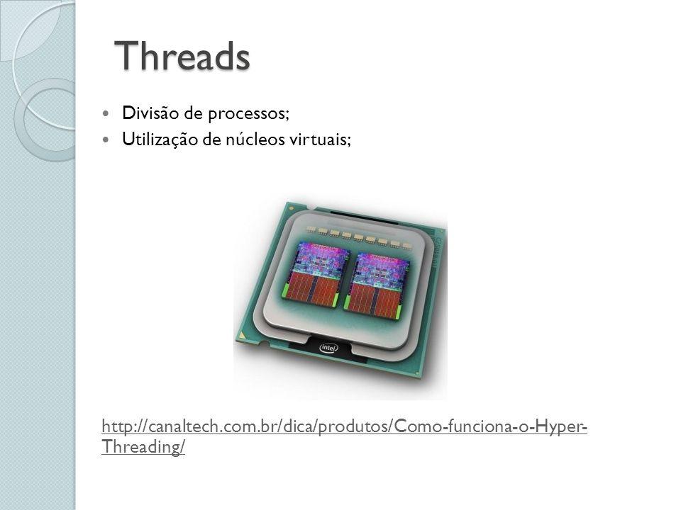 Threads Divisão de processos; Utilização de núcleos virtuais;