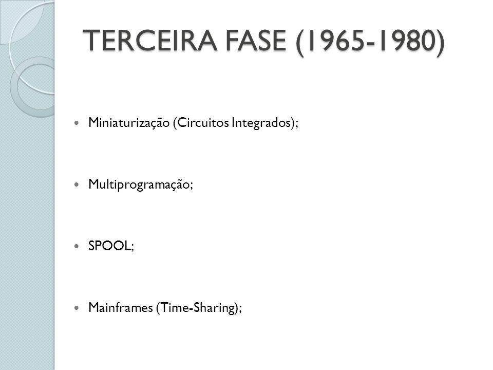 TERCEIRA FASE (1965-1980) Miniaturização (Circuitos Integrados);