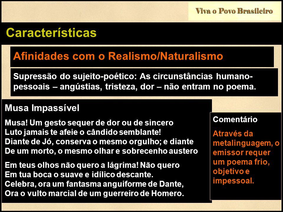 Afinidades com o Realismo/Naturalismo