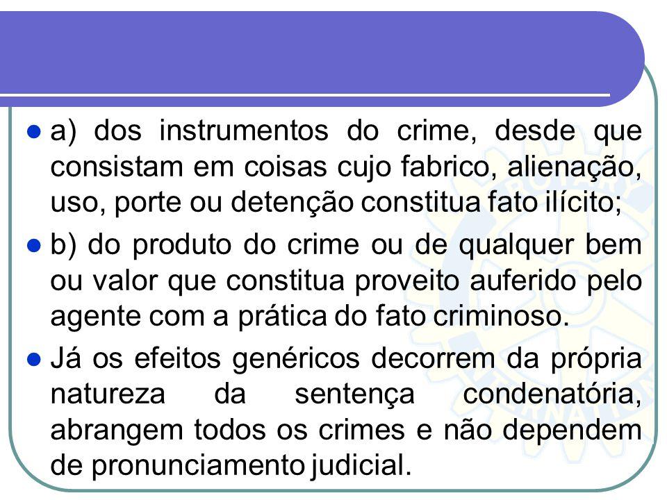 a) dos instrumentos do crime, desde que consistam em coisas cujo fabrico, alienação, uso, porte ou detenção constitua fato ilícito;
