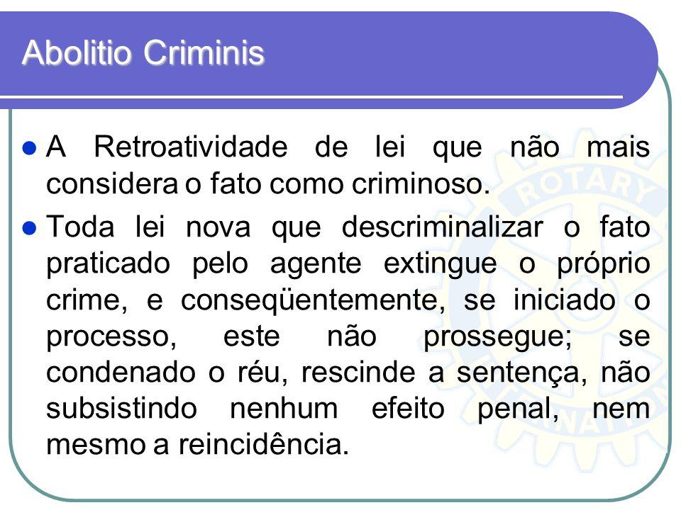 Abolitio Criminis A Retroatividade de lei que não mais considera o fato como criminoso.
