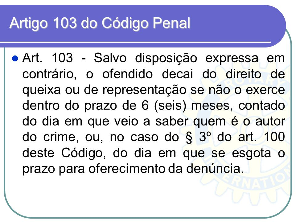Artigo 103 do Código Penal