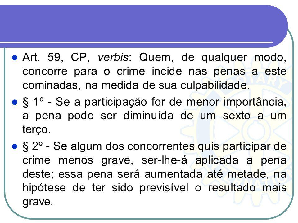 Art. 59, CP, verbis: Quem, de qualquer modo, concorre para o crime incide nas penas a este cominadas, na medida de sua culpabilidade.