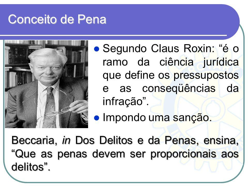 Conceito de Pena Segundo Claus Roxin: é o ramo da ciência jurídica que define os pressupostos e as conseqüências da infração .