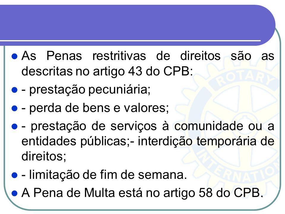 As Penas restritivas de direitos são as descritas no artigo 43 do CPB: