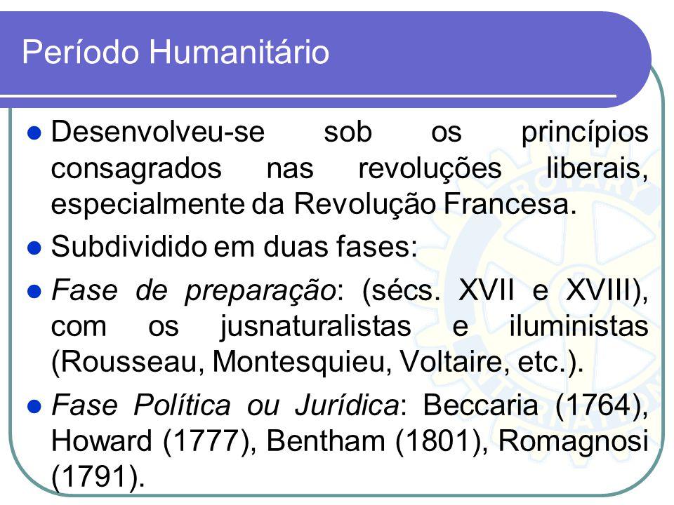 Período Humanitário Desenvolveu-se sob os princípios consagrados nas revoluções liberais, especialmente da Revolução Francesa.