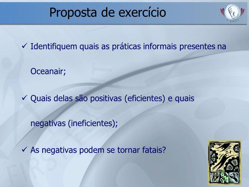 Proposta de exercício Identifiquem quais as práticas informais presentes na Oceanair;