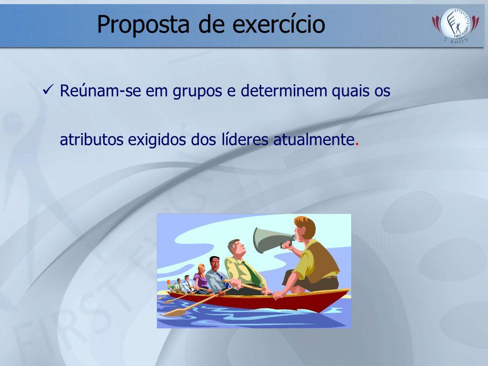 Proposta de exercício Reúnam-se em grupos e determinem quais os atributos exigidos dos líderes atualmente.