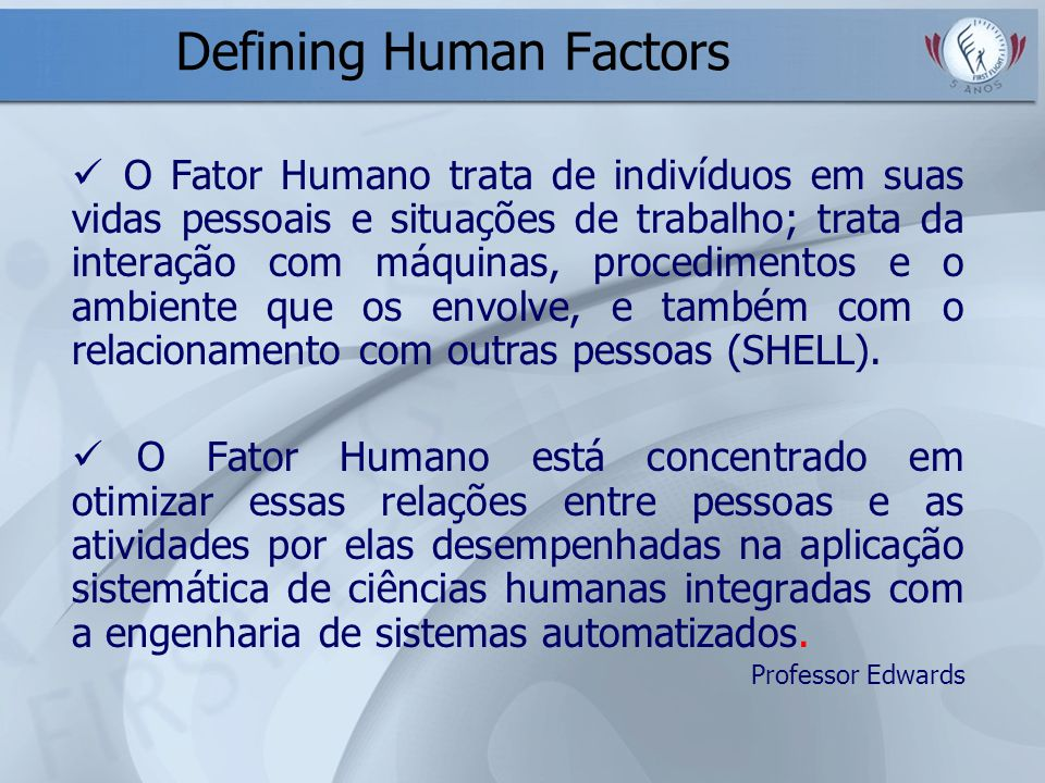 Defining Human Factors