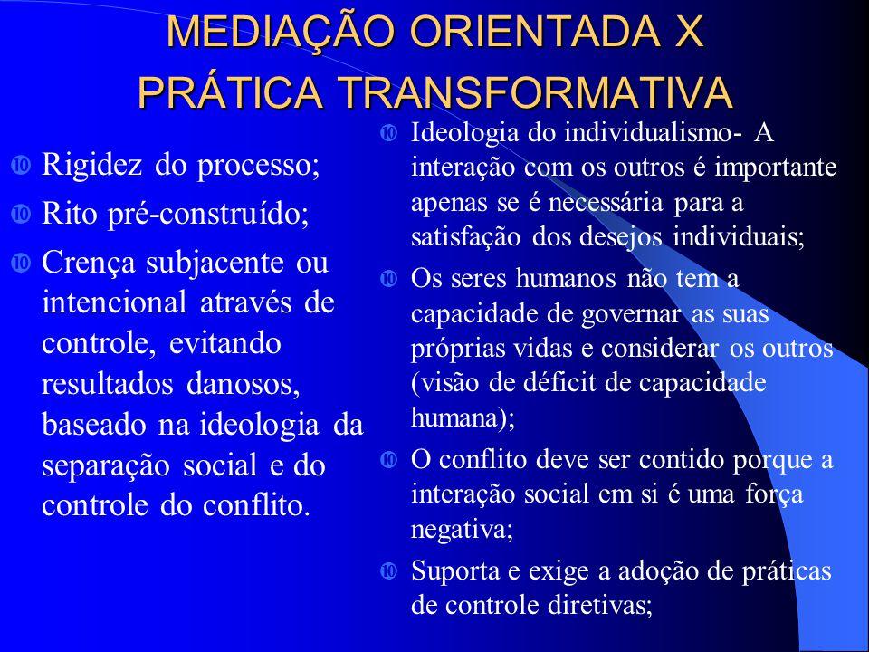 MEDIAÇÃO ORIENTADA X PRÁTICA TRANSFORMATIVA
