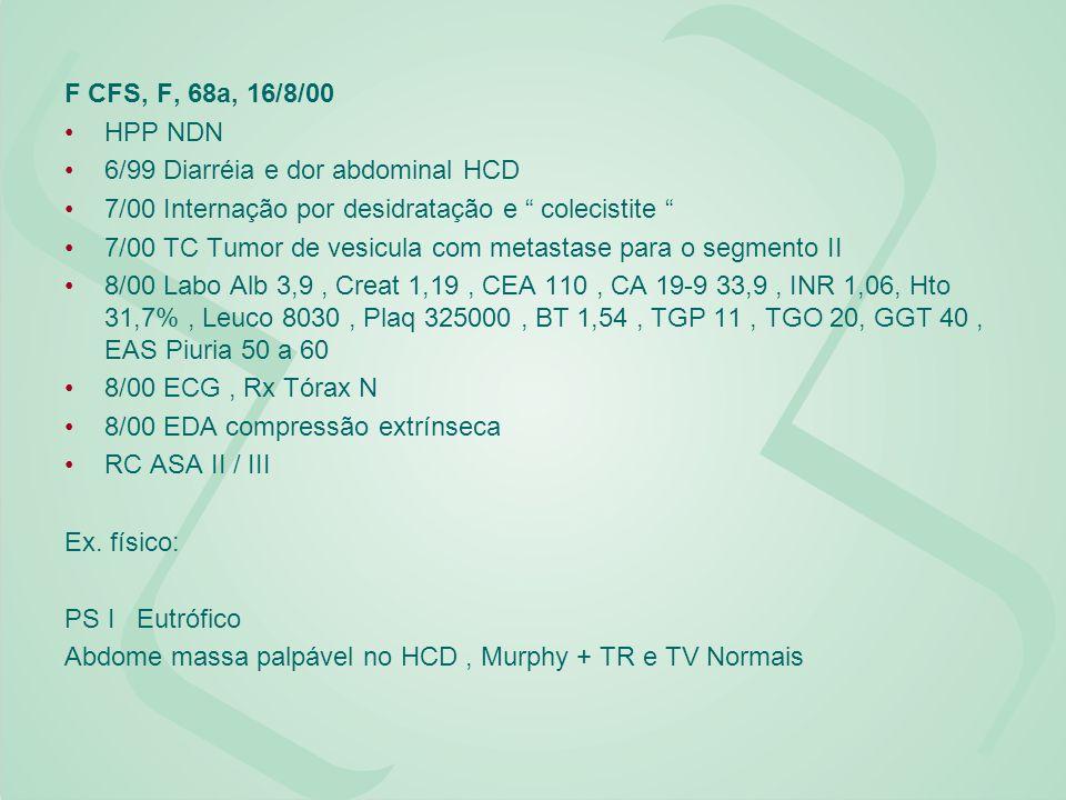 F CFS, F, 68a, 16/8/00 HPP NDN. 6/99 Diarréia e dor abdominal HCD. 7/00 Internação por desidratação e colecistite