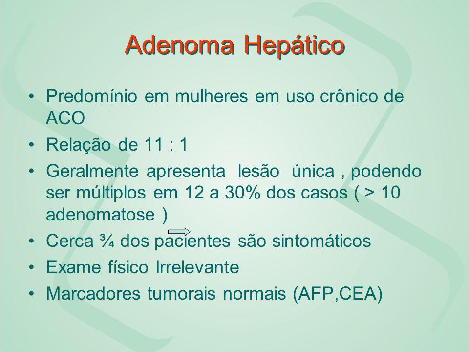 Adenoma Hepático Predomínio em mulheres em uso crônico de ACO