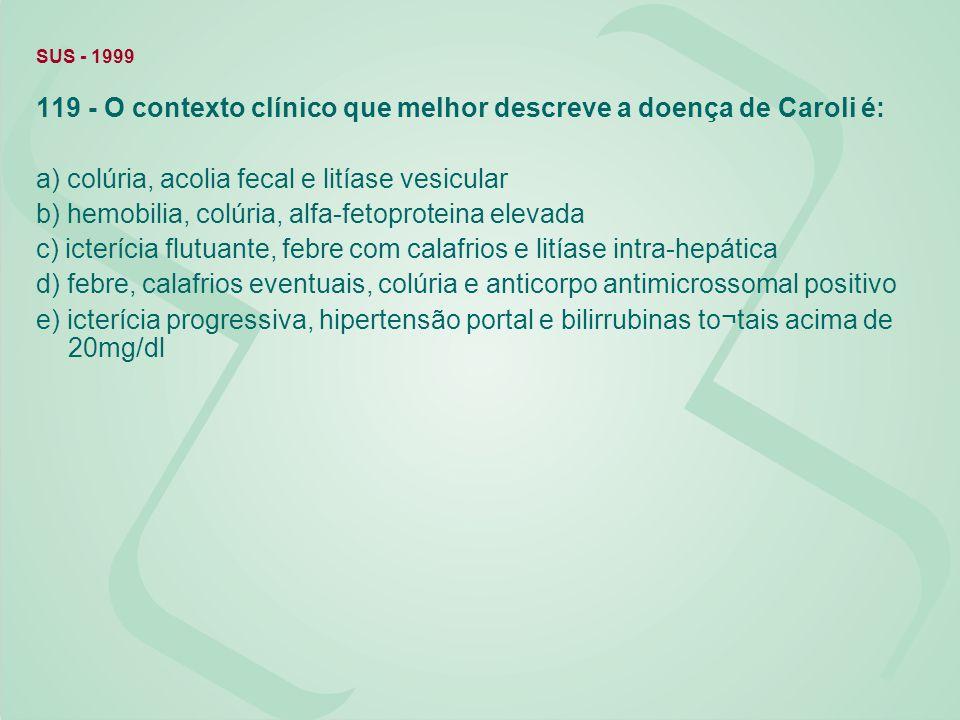 119 - O contexto clínico que melhor descreve a doença de Caroli é: