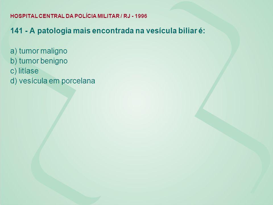141 - A patologia mais encontrada na vesícula biliar é: