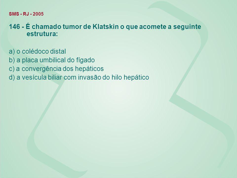 146 - É chamado tumor de Klatskin o que acomete a seguinte estrutura: