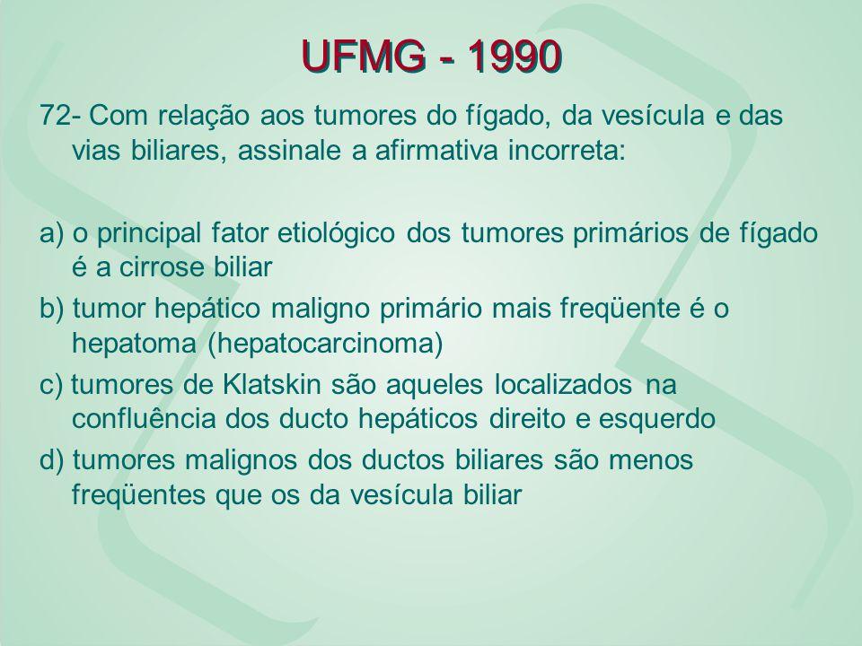 UFMG - 1990 72- Com relação aos tumores do fígado, da vesícula e das vias biliares, assinale a afirmativa incorreta: