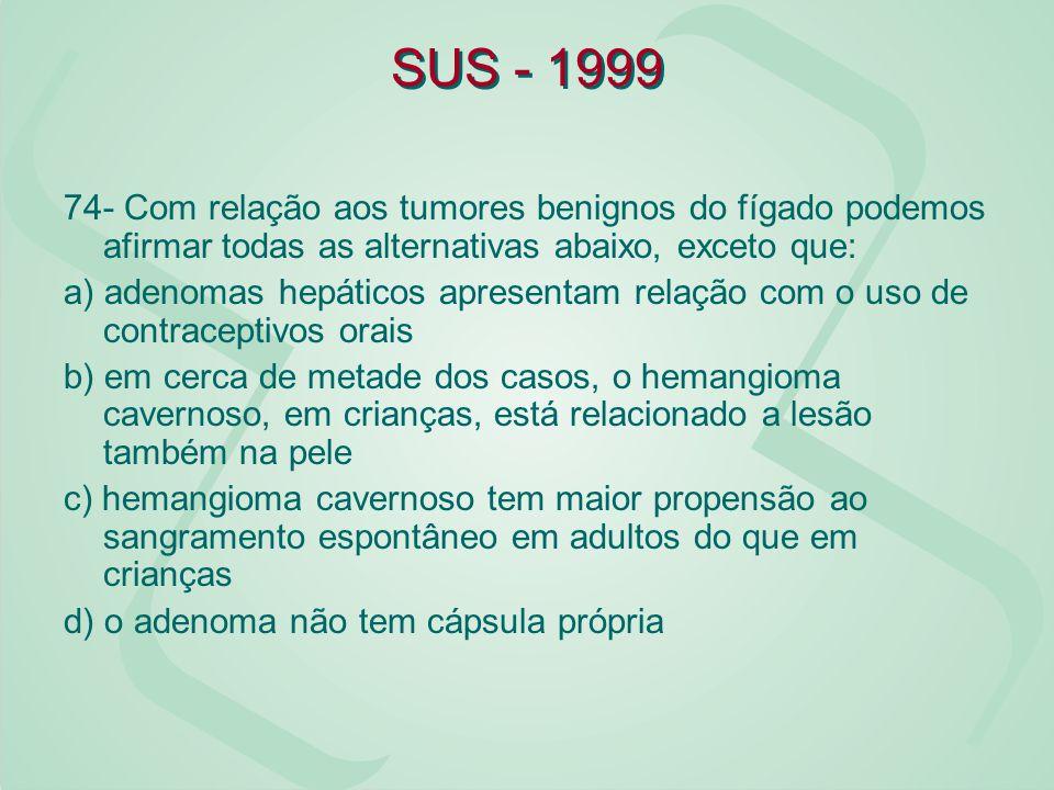 SUS - 1999 74- Com relação aos tumores benignos do fígado podemos afirmar todas as alternativas abaixo, exceto que: