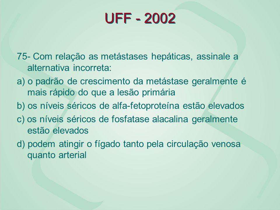 UFF - 2002 75- Com relação as metástases hepáticas, assinale a alternativa incorreta: