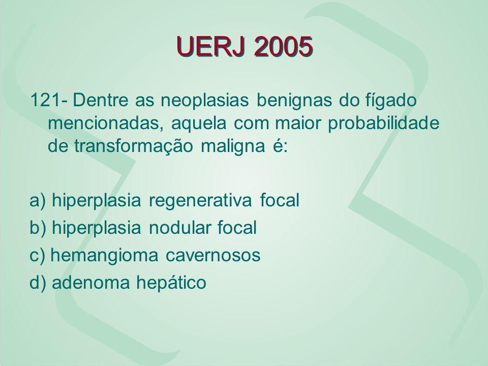 UERJ 2005 121- Dentre as neoplasias benignas do fígado mencionadas, aquela com maior probabilidade de transformação maligna é: