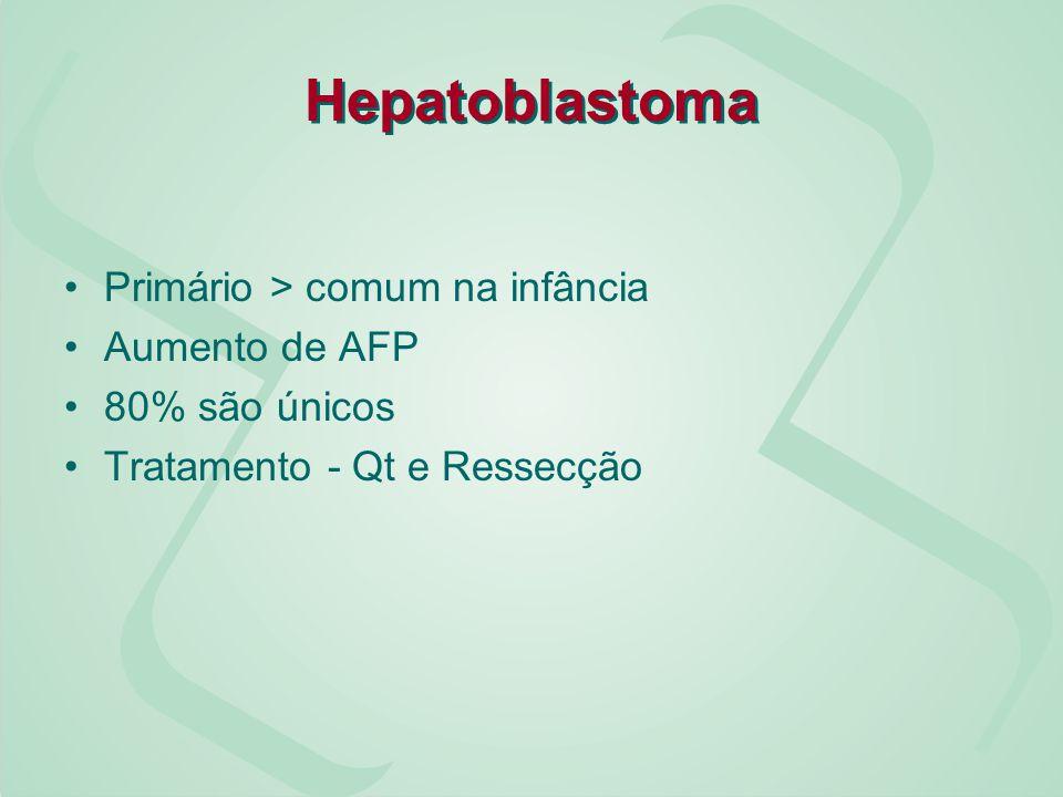 Hepatoblastoma Primário > comum na infância Aumento de AFP