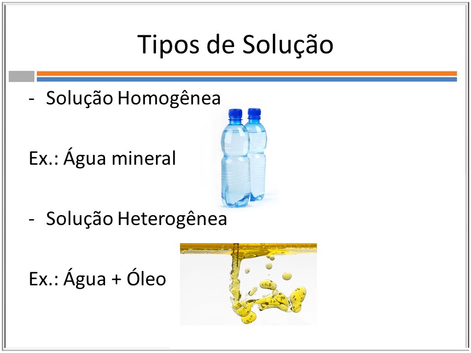 Tipos de Solução Solução Homogênea Ex.: Água mineral