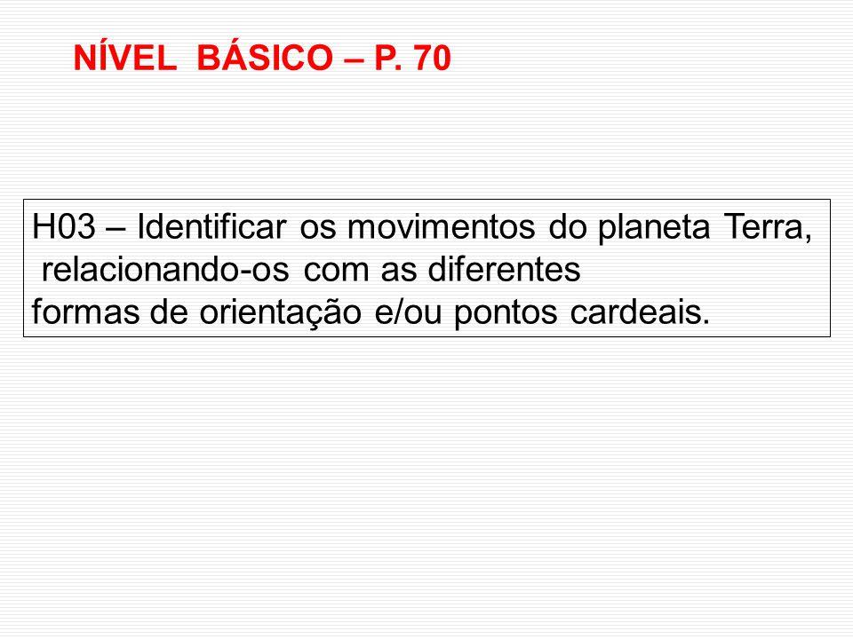 NÍVEL BÁSICO – P. 70 H03 – Identificar os movimentos do planeta Terra, relacionando-os com as diferentes.