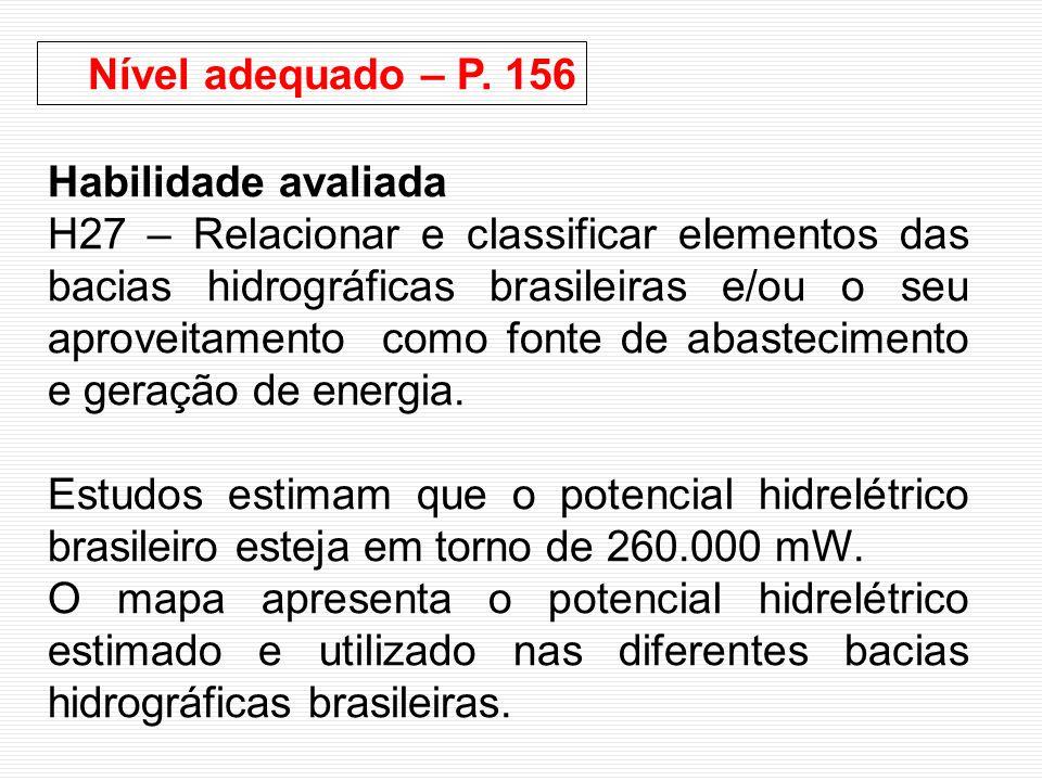 Nível adequado – P. 156 Habilidade avaliada.