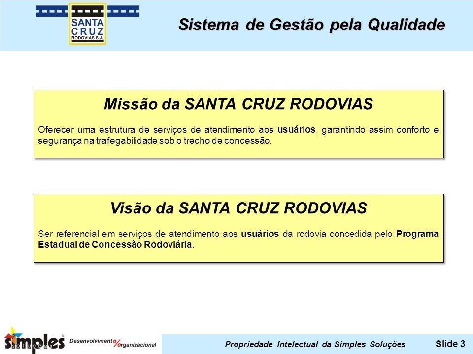Missão da SANTA CRUZ RODOVIAS Visão da SANTA CRUZ RODOVIAS