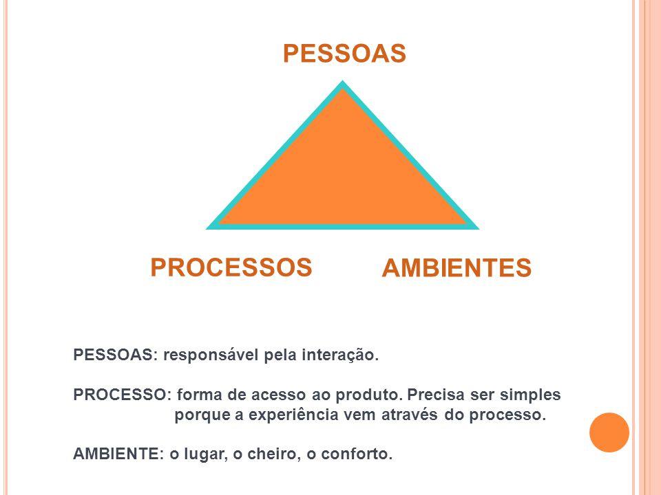 PESSOAS PROCESSOS AMBIENTES PESSOAS: responsável pela interação.