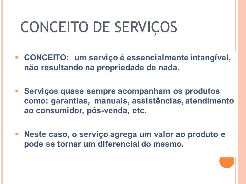 CONCEITO DE SERVIÇOS CONCEITO: um serviço é essencialmente intangível, não resultando na propriedade de nada.